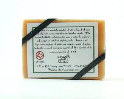 Lemongrass Natural Soap Bar Back Label