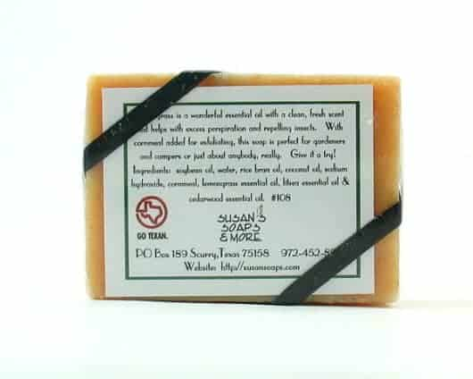 Lemongrass Natural Soap Bar Back Label