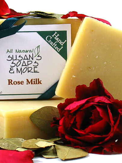 Rose Milk Soap Bar made with rose essential oil.