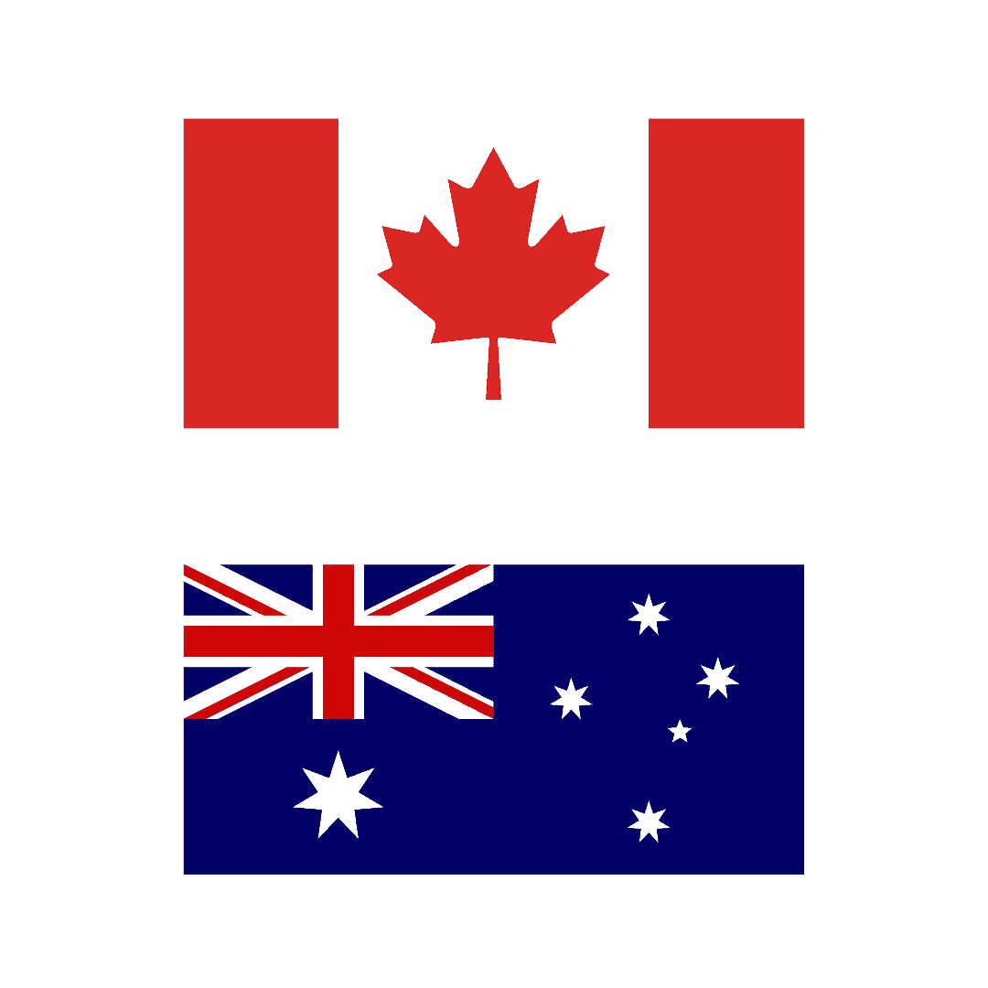 Canadian and Australian Flags