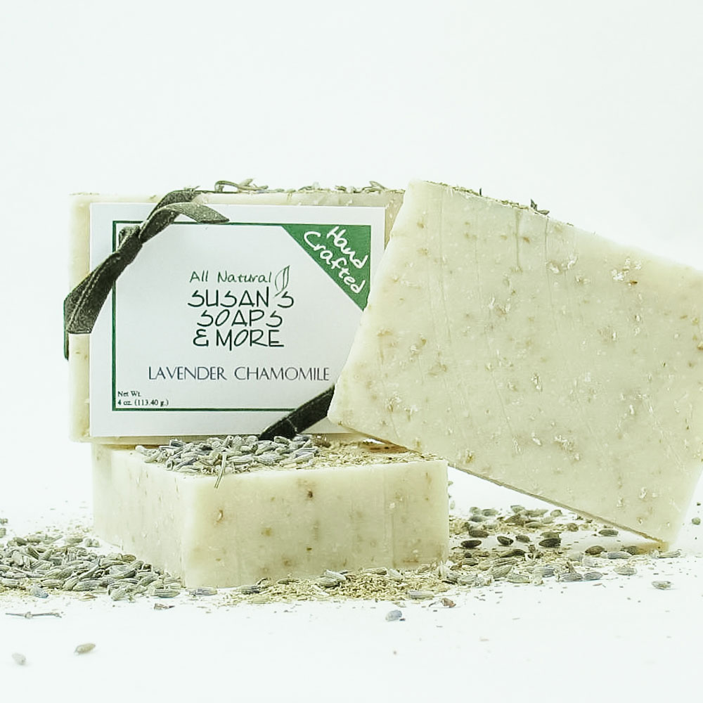 Lavender Chamomile Soap is gentle on skin with cocoa butter for extra moisturizing.