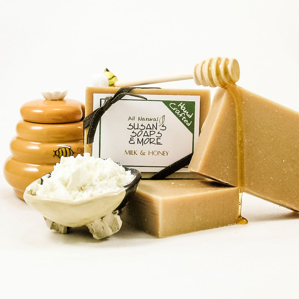 Milk and Honey Soap can be used on the face and body.